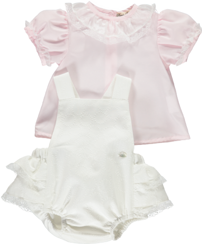 Piccola Speranza Girls White Two Piece Outfit